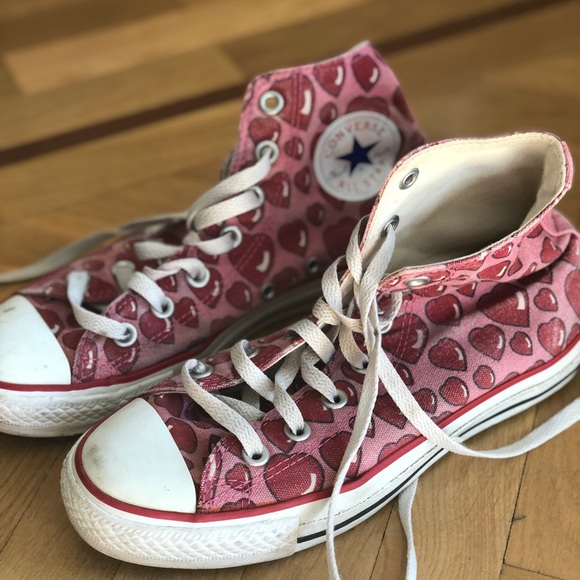 Converse All Star with red hearts ♥️ design